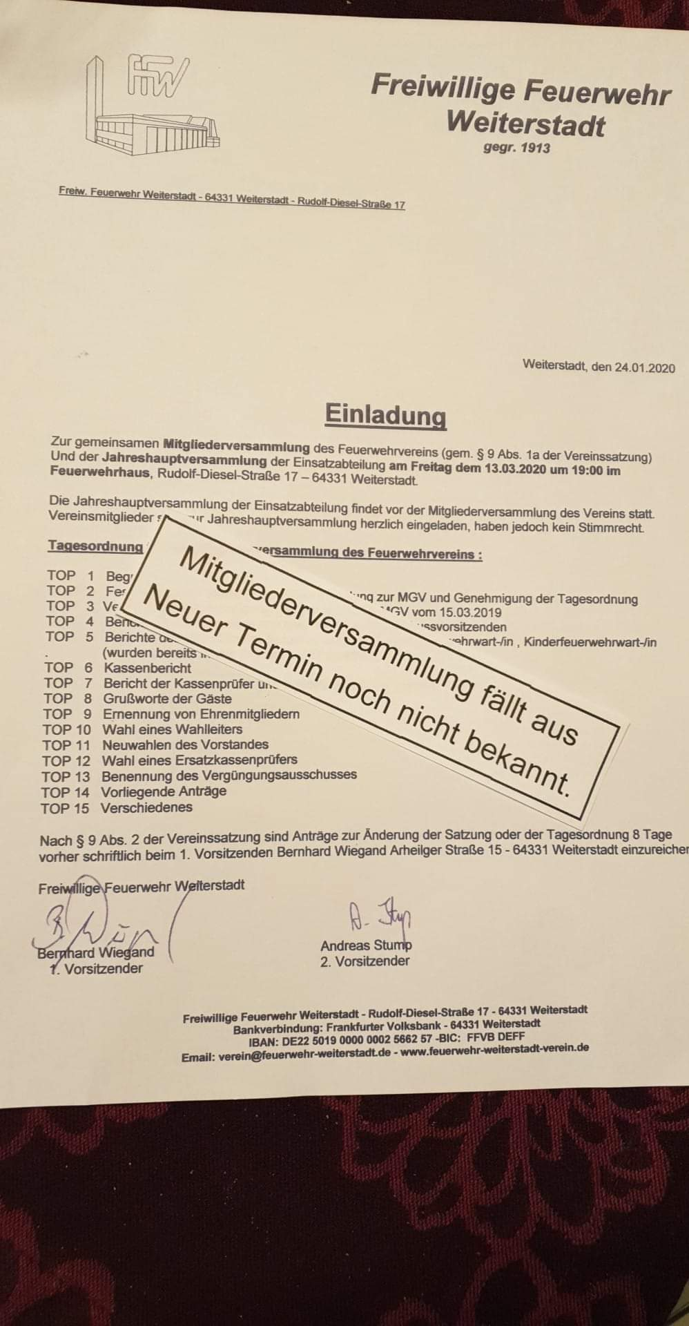 Die Mitgliederversammlung Und Die Matinee Des Feuerwehrvereins Fallen Aus. Neue Termine Noch Nicht Bekannt!
